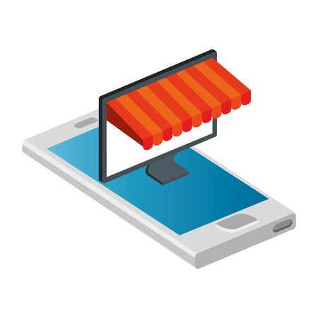 computer with parasol in smartphone isolated icon vector illustration design
