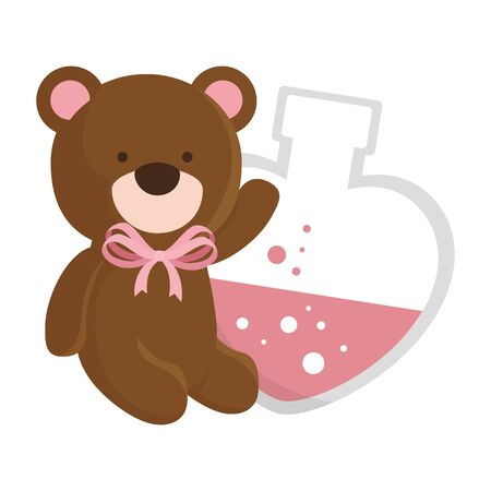 cute teddy bear and fragrance with heart bottle vector illustration design
