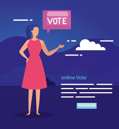 poster of vote online with business woman vector illustration design