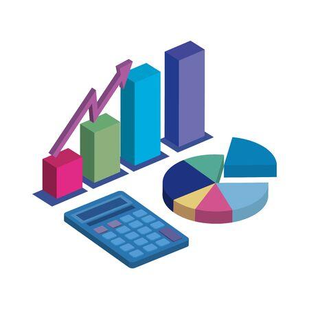 statistics graphics with calculator isolated icon vector illustration design Vektoros illusztráció