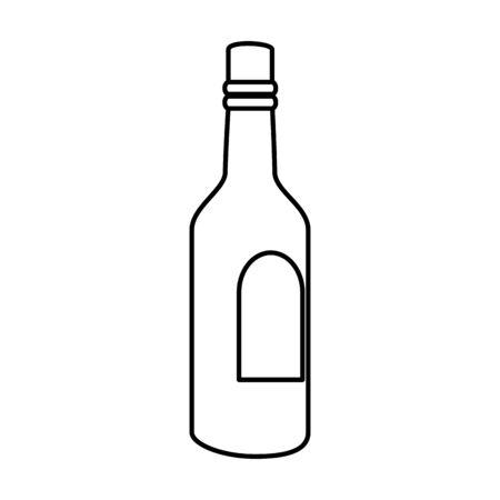 bottle of wine line style icon vector illustration design