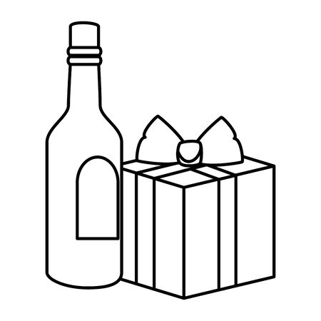 bottle of wine with gift box present line style icon vector illustration design