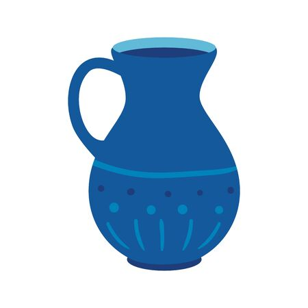 teapot of pottery decorative isolated icon vector illustration design