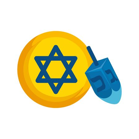 dreidel game with star david isolated icon vector illustration design Illusztráció