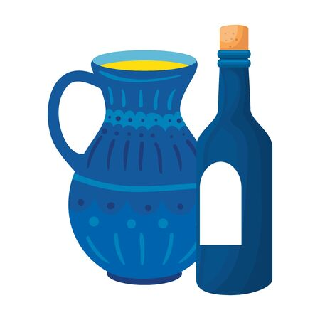 bottle of wine with teapot isolated icon vector illustration design Ilustracja