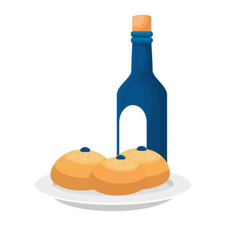 bottle of wine with breads isolated icon vector illustration design Ilustracja