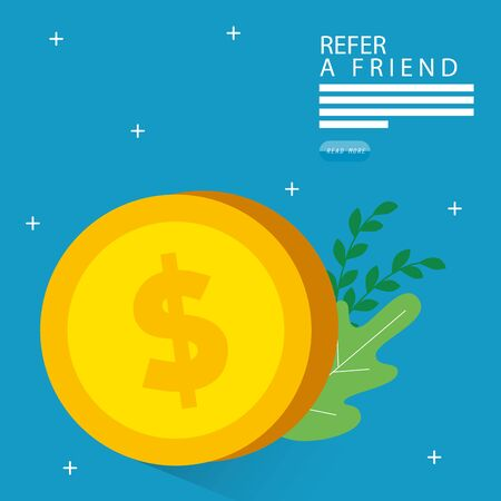 refer a friend with coin and leafs vector illustration design 向量圖像