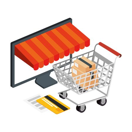 cart shopping and computer with icons vector illustration design Illustration