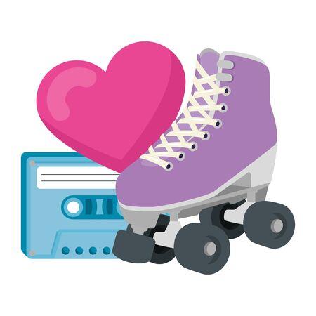 roller skate with heart and cassette of nineties vector illustration design