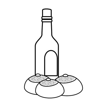 bottle of wine with breads line style icon vector illustration design Ilustracja