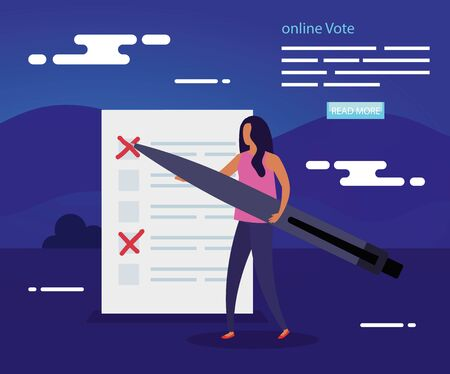 poster of vote online with woman and vote form vector illustration design