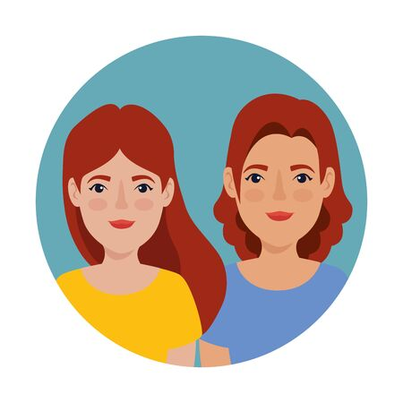 beautiful women with red hair in frame circular avatar character vector illustration design Иллюстрация