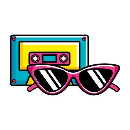 cassette music with sunglasses pop art style icon vector illustration design