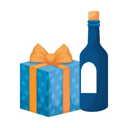 bottle of wine with gift box present isolated icon vector illustration design