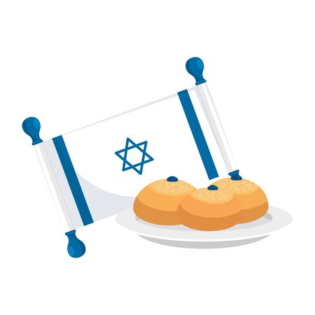 flag israel with bread isolated icon vector illustration design