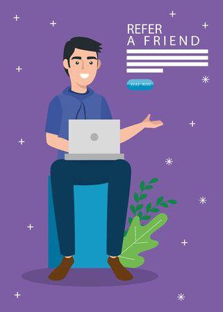 Refiera a un amigo y un hombre con diseño de ilustración de vector de computadora portátil