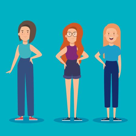 group of young women avatar characters vector illustration design