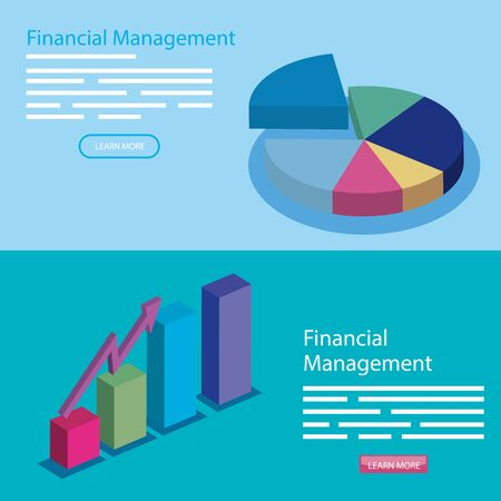 set poster of financial management with icons vector illustration design