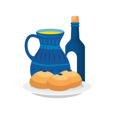 bottle of wine with breads and teapot isolated icon vector illustration design Ilustracja