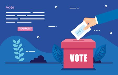 poster of vote with hand and ballot box vector illustration design 向量圖像
