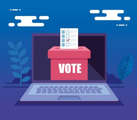 laptop computer for vote online with ballot box vector illustration design