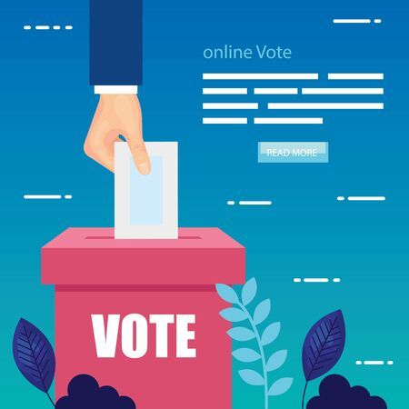 Affiche de vote en ligne avec main et urne vector illustration design