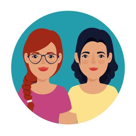 beautiful women in frame circular avatar character vector illustration design