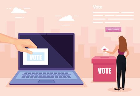 poster of vote with business woman and laptop vector illustration design