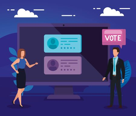 business people with computer for vote online vector illustration design
