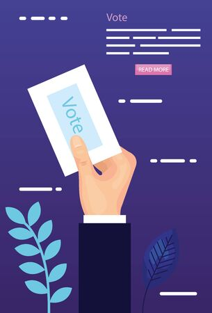 poster of vote with hand and vote form vector illustration design