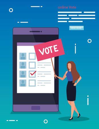 affiche de vote en ligne avec smartphone et femme vector illustration design Vecteurs
