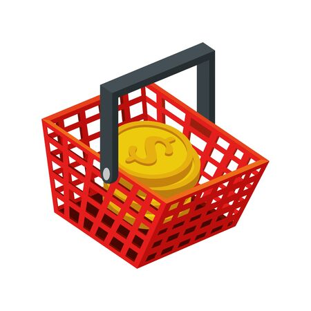 basket shopping with pile coins isolated icon vector illustration design 向量圖像