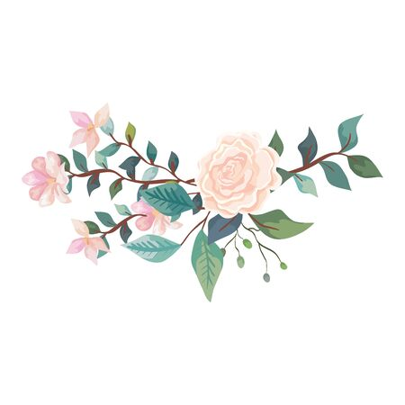 cute rose with flowers and leafs isolated icon vector illustration design Stock Vector - 137581652