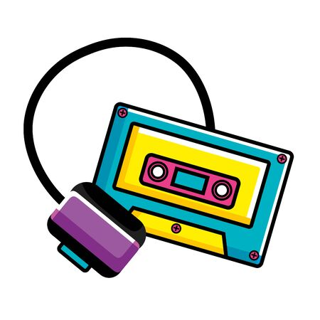 cassette music with headset pop art style icon vector illustration design