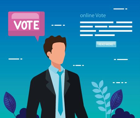 poster of vote online with business man vector illustration design 向量圖像