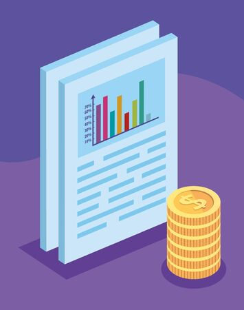 document with bars statistical and pile coins vector illustration design