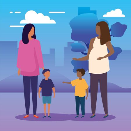 mothers with sons in park nature vector illustration design