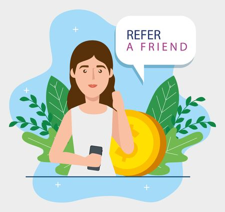 refer a friend with young woman and coin vector illustration design
