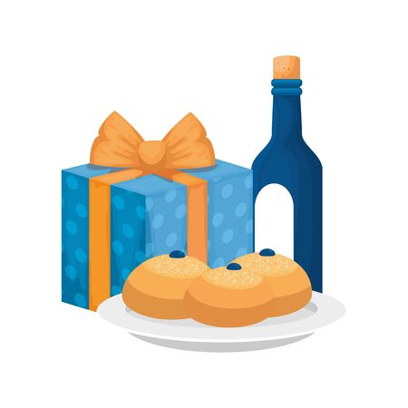bottle of wine with gift box and breads isolated icon vector illustration design
