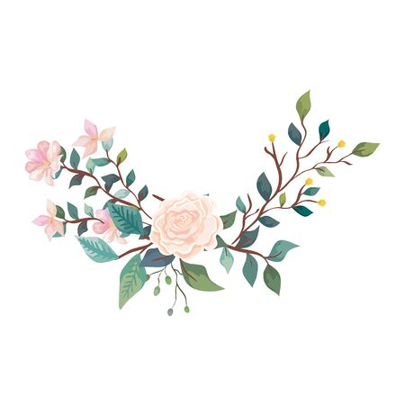 cute rose with flowers and leafs isolated icon vector illustration design