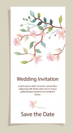 wedding invitation card with branches and flowers decoration vector illustration design