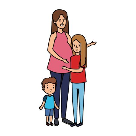 young mother with son and daughter vector illustration design Иллюстрация