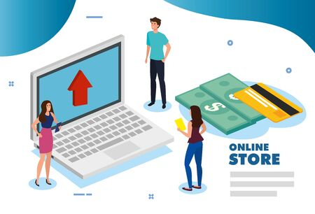 online store with laptop and icons vector illustration design