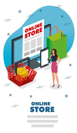 online store with woman and icons vector illustration design