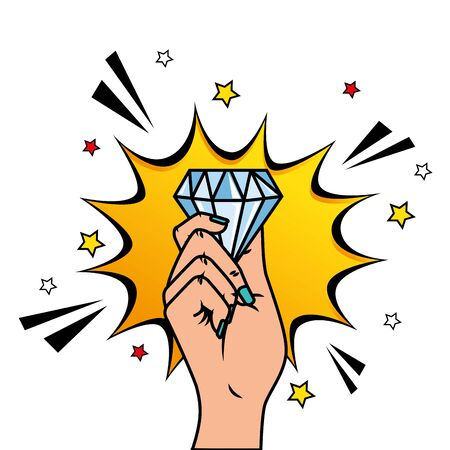 hand with diamond and explosion pop art style icon vector illustration design
