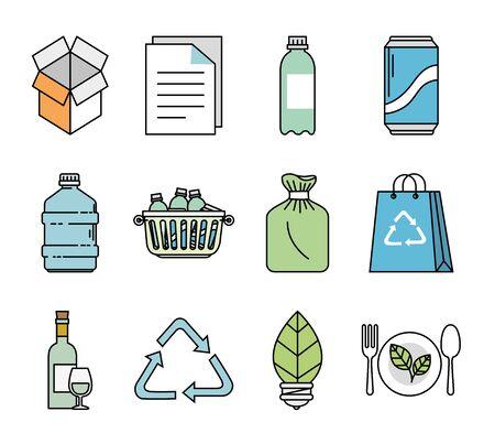 bundle of ecology friendly set icons vector illustration design Archivio Fotografico - 137545351