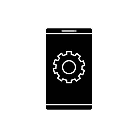 Gear inside smartphone design, construction work repair machine part technology industry and technical theme Vector illustration