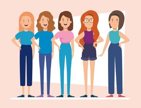group of women avatar character icon vector illustration design Иллюстрация