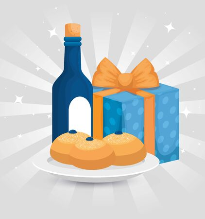 bottle wine with breads and gift box vector illustration design