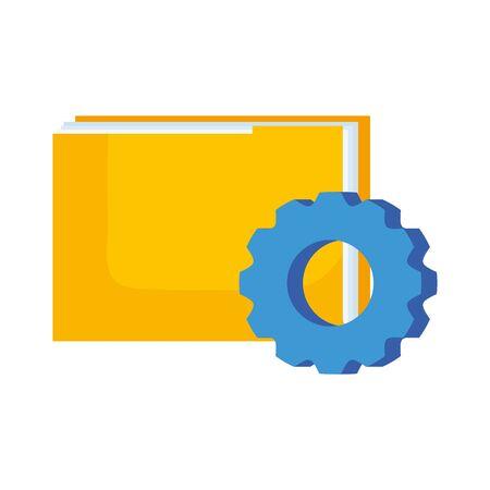 Diseño de archivos y engranajes, almacenamiento de archivos de datos de documentos, organización de la oficina comercial y tema de información Ilustración vectorial